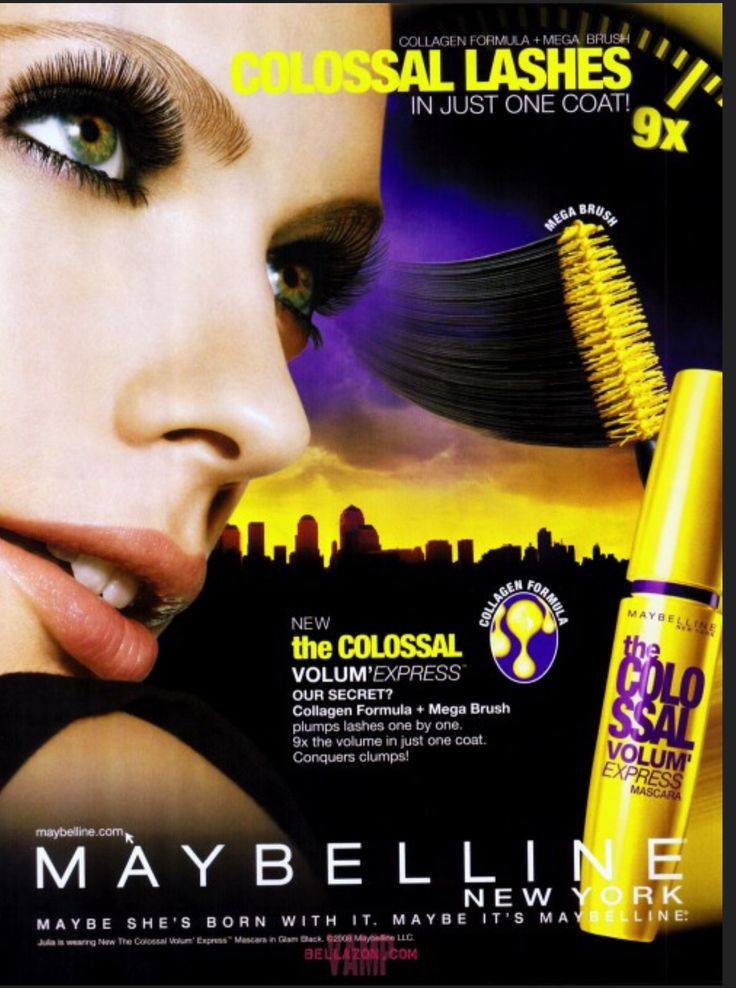 Colossal Mascara Print Lip Ad - Page 2009 | Maybellline ...