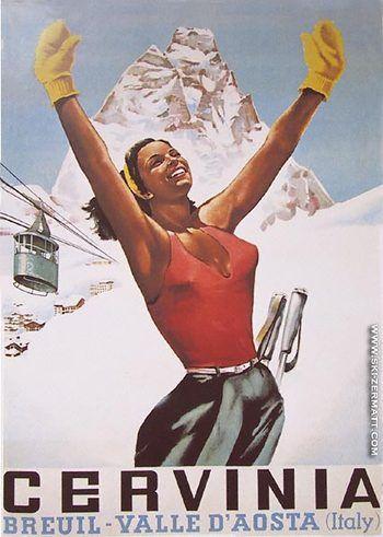 Vintage travel poster for Italian ski resort