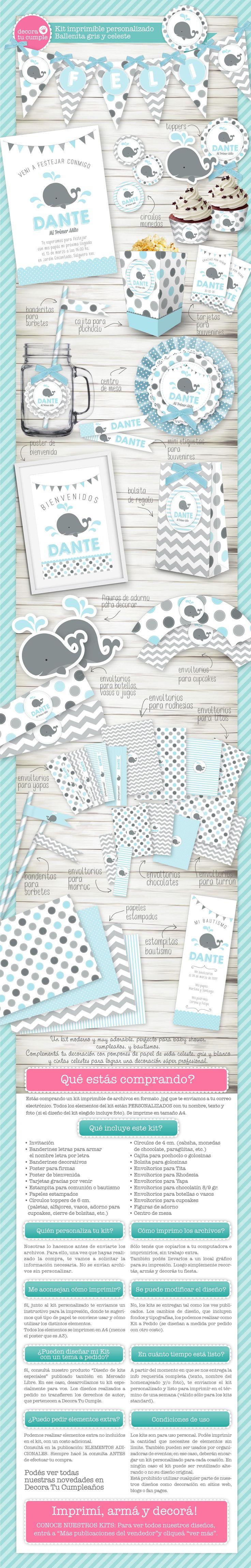 Kit imprimible digital personalizado. Invitación digital, Ballena celeste y gris, náutico. Baby shower, bautizo, bautismo y cumpleaños. Primer Añito. Printable party kit. Whale. Nautical. https://www.facebook.com/DecoraTuCumpleanos/
