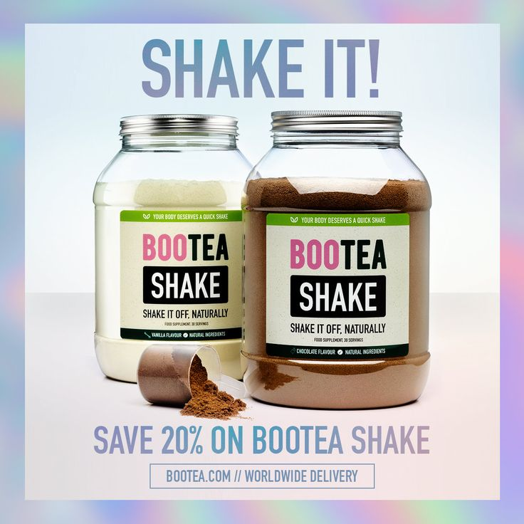 Get 20% off Bootea Shake and shake it off, naturally. With only 115 calories per serving, no sugar & low carb, the Bootea Shake is a delicious and convenient way to consume 20g of protein and aid recovery after exercise.   Available in Chocolate and Vanilla flavours, Bootea Shake is perfect after training or between meals.   But be quick, this offer will only last 24 hours