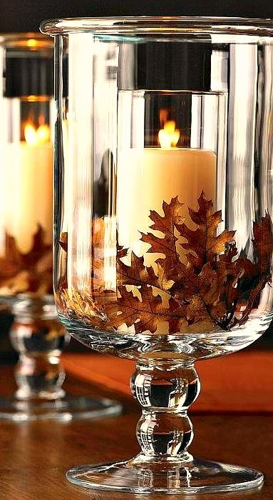Fall / Autumn decor with candles. Classic Hurricane from Williams-Sonoma.