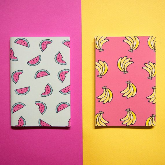 Set of Two Fruity Notebooks / Banana and Watermelon / Stationery Gift Set