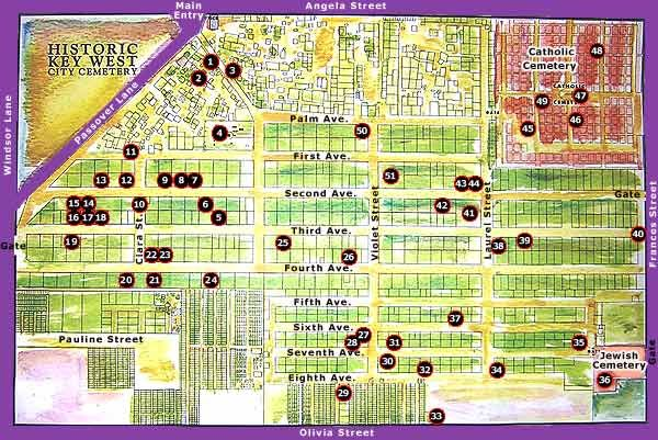 Map of Key West's unique and intriguing cemetery located in the heart of Old Town. (Click on the map to see a larger version)