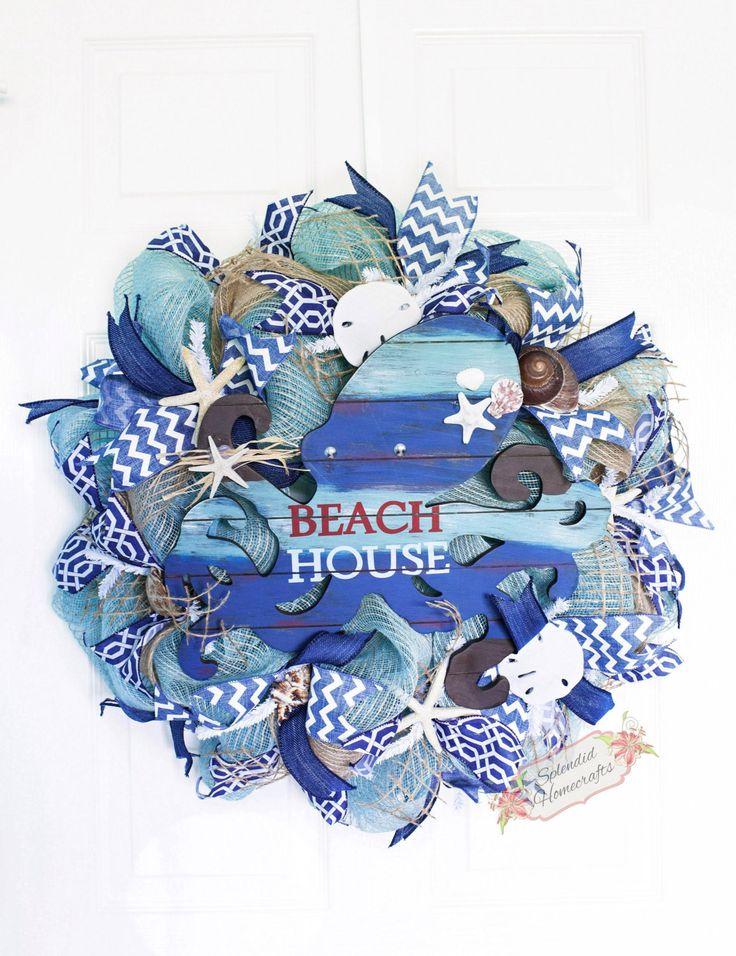 """24"""" Beach House Octopus Wreath, Summer Mesh Wreath, Beach Mesh Wreath, Nautical Wreath, Seashell Wreath, Octopus Wreath, Ocean Wreath by Splendid Homecrafts on Etsy"""