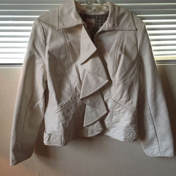 Cream leather jacket Candies frilly cream colored (not real) leather jacket. Worn twice and got so many compliments. Comfy and warm. Size L but fits like med. Jackets & Coats