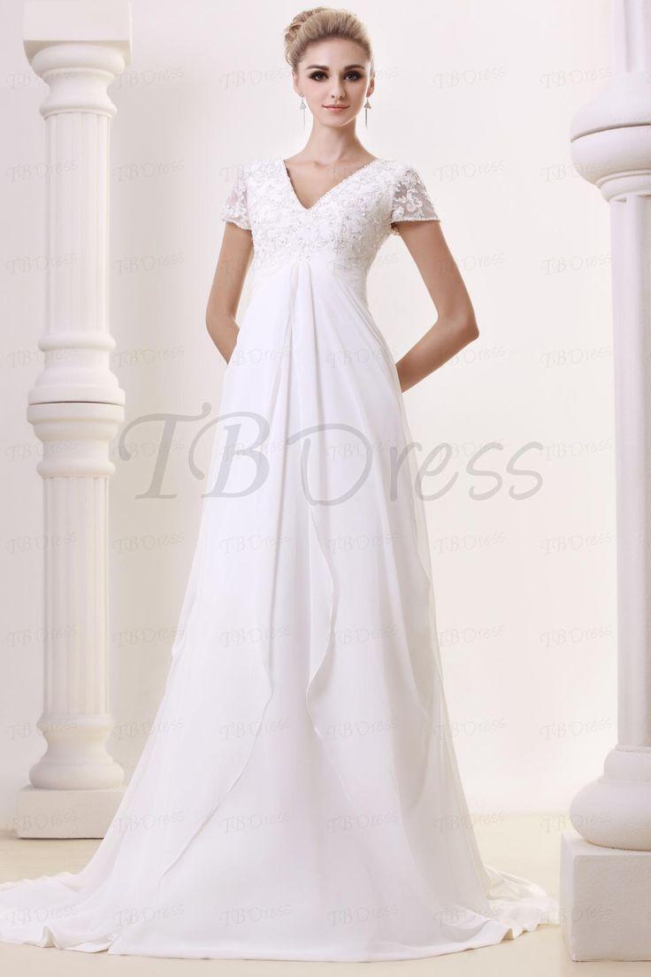 Empire Waist Short Sleeve Liques Wedding Dress