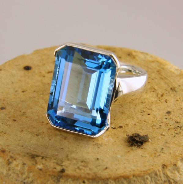 Stg Silver and Blue Topaz Cocktail Ring | Geoff Taylor Goldsmith