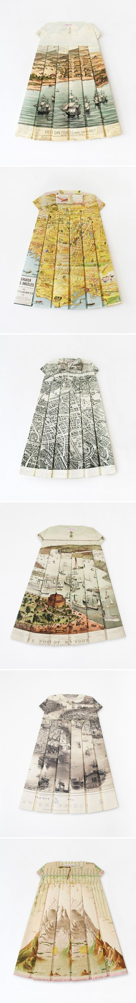ELISABETH LECOURT - vintage maps folded into tiny dresses