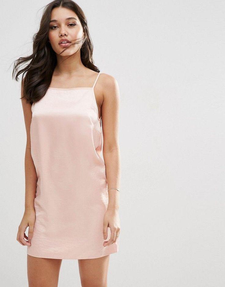 Image 1 ofASOS Hammered Satin Slip Dress