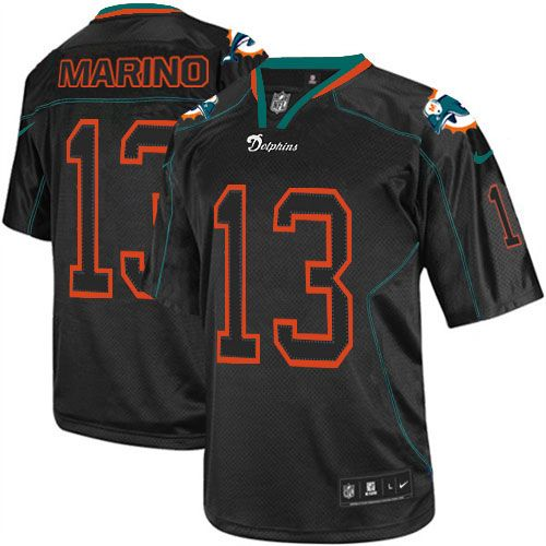 Mens Nike Miami Dolphins #13 Dan Marino Elite Lights Out Black Jersey $129.99
