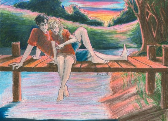 Percy and Annabeth by the canoe lake <3