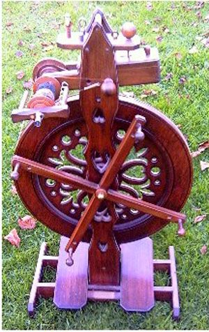 """Mike Keeves spinning wheel """"Grace"""". looks like it has a built in umbrella too. nice."""
