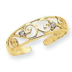 14k Yellow #Gold Scroll With .02 Ct #Diamond #Toe     Picturesongold.com