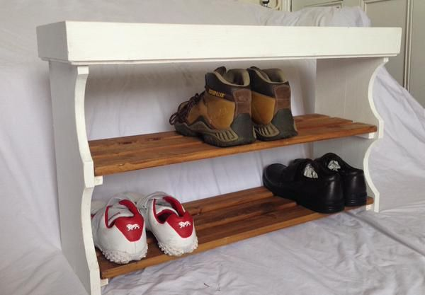 Shaker Style Solid Wood Shoe Rack White and Pine Waxed