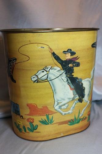 Vintage Cowboy Cowgirl Trash Can Western Tin Waste Basket