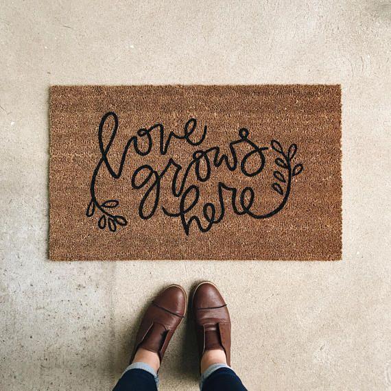 The Love Grows Here handpainted doormat