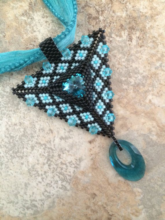 Black and Turquoise Triangle Pendant on Etsy, $35.00