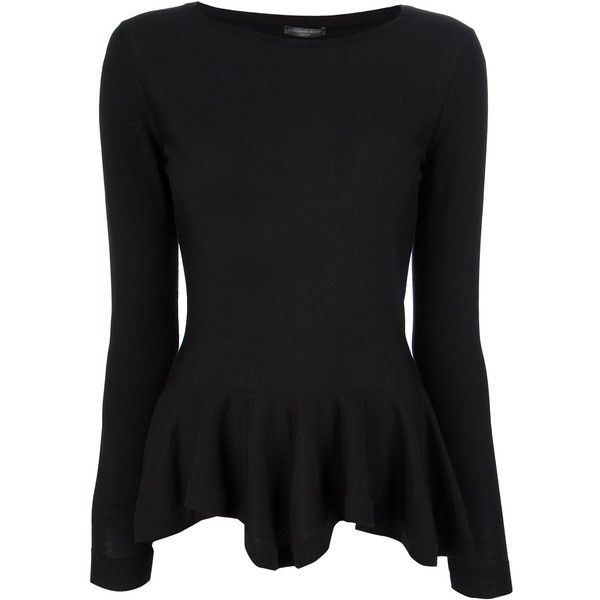 ALEXANDER MCQUEEN peplum top (276.215 HUF) ❤ liked on Polyvore featuring tops, shirts, long sleeves, blouses, alexander mcqueen, black boatneck top, long sleeve shirts, shirts & tops, peplum tops and wool long sleeve shirt