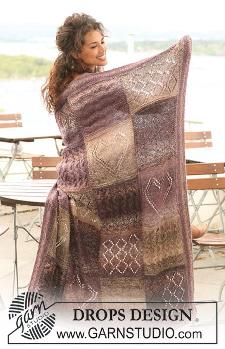 "Free pattern: Knitted DROPS blanket in ""Delight"" and ""Alpaca"" with squares in different textured patterns."