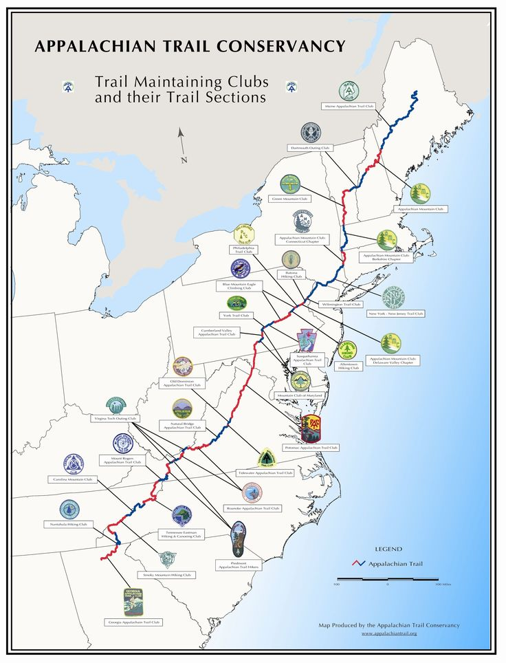 Appalachian Trail Conservancy---Trail Maintaining clubs and their Trail Sections
