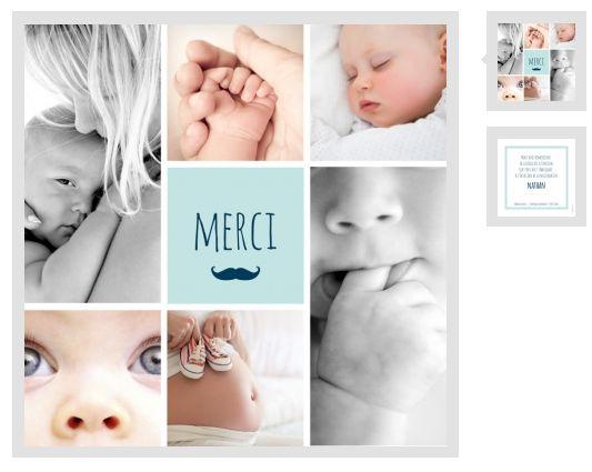 Mosaïque de remerciements et moustache sur cette carte à personnaliser ici : http://www.lips.fr/impression/carte-remerciement-naissance/format-130-x-130-2p-modele.html?modele_id=331