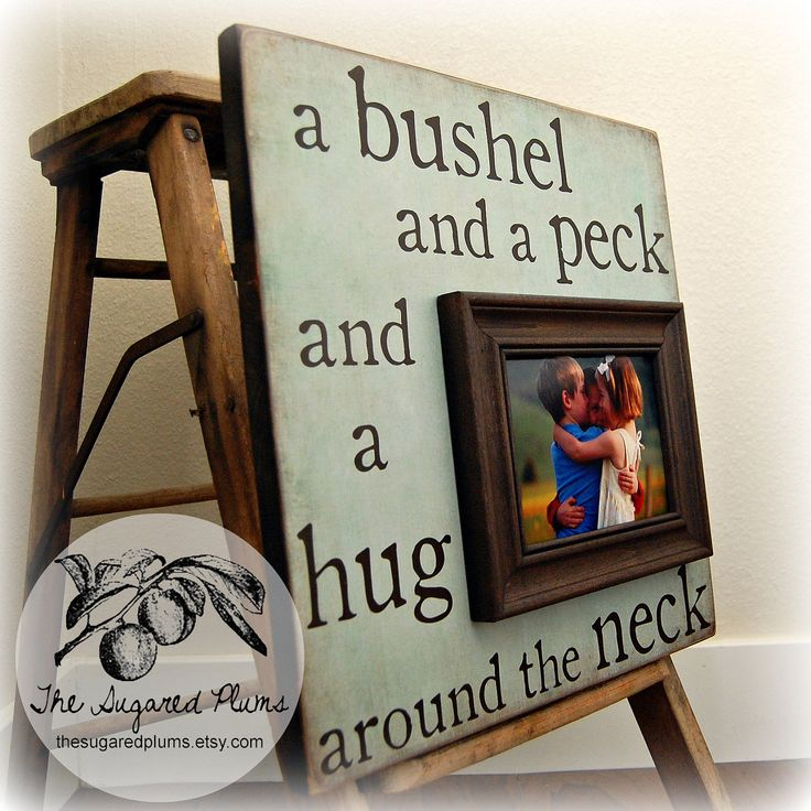 Baby Picture Frame Custom BUSHEL and a PECK Baby Shower Baptism Christening First Birthday 16x16 Nursery Wall Decor Wall Sign. $75.00, via Etsy.