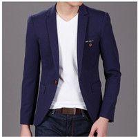 2015 azul primavera chaquetas clásicas de los hombres chaquetas masculinas Mens…