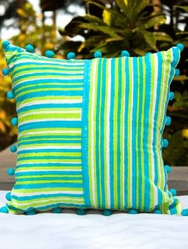 Sea Pearl Beaded Green-Blue Block-printed Cotton Cushion Cover