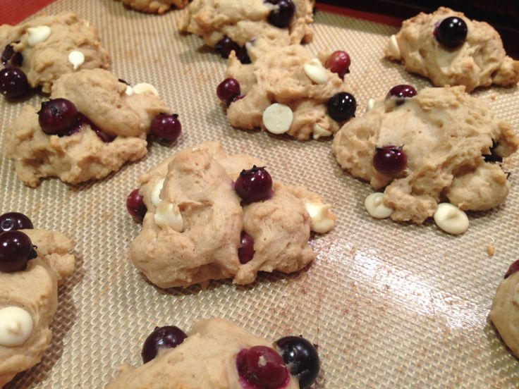 Blueberry and white chocolate chip cookies made with Greek yogurt