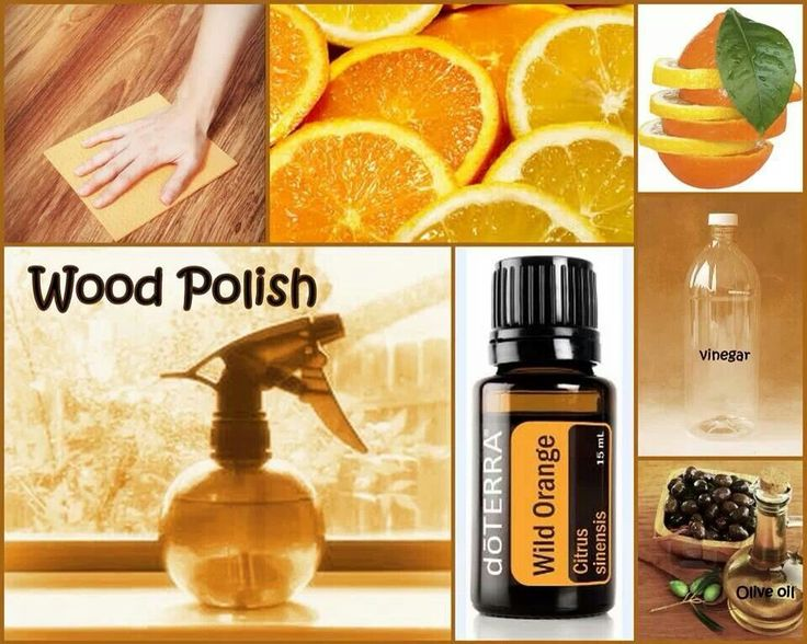 Homemade wood polish with doTERRA wild orange essential oil! You will need 1/4 cup of oilve oil, 1/4 cup vinegar, 10 drops wild orange, mix into a glass spray bottle!