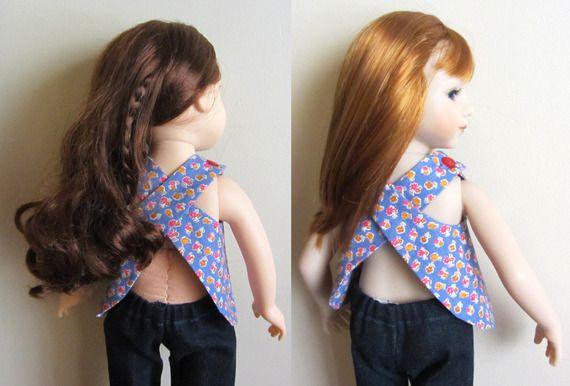 Chemise tablier et pantalon été pour poupées Journer Girls ou Maru and Friends