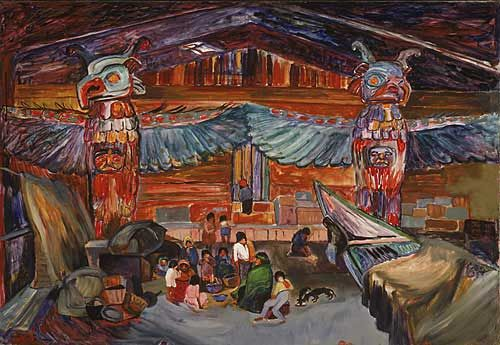 Emily Carr, Indian House Interior with Totems, 1912 - 1913. oil on canvas