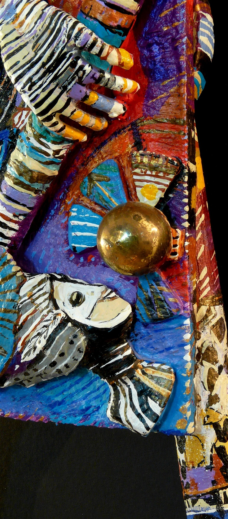 """Photographic Detail View: Nefertiti's 48th Reincarnation > For Sale: Title: Nefertiti`s Accordion-Peacock Persona. La personnalité accordéon-paon de Nefertiti. (DETAIL View of Acrylic Painted, Wall Assemblage FIGURE). Iconography: (Buffoonish) Circus Animal Figure with Peacock, Owl, Cat, Paint Brush…) Category: Nefertiti Series for Sale Artist's Collection © 2003-2005 Eve Damie. Size: 28 x 15 x 6""""/71 x 38 x 15CM. Archival, Museum + Professional Quality Materials and Techniques >"""