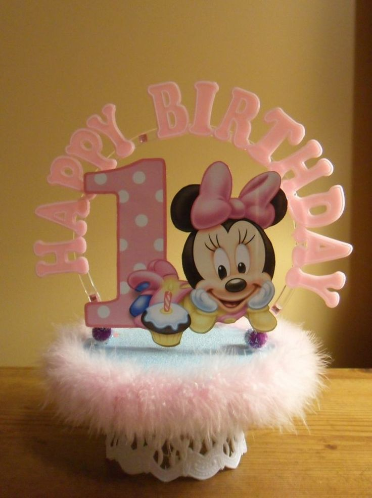 Baby minnie mouse 1st first birthday cake topper or table for Baby footprints cake decoration