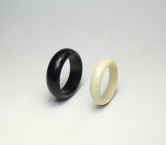 Natural Black ring Horn ring Unusual Wedding rings Organic band Comfort fit band White bone ring Bridal rings set Men wide wood Wedding Band