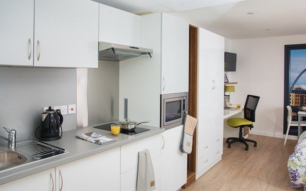 This is the kitchen area of one of studio apartments, now available for 2017