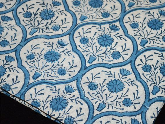 Floral Fabric Block Print Cotton Fabric  by Indianlacesandfabric