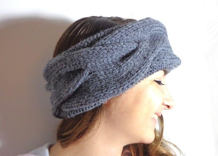 Cache-oreilles à torsades gris, snood anthracite tricoté main, bandeau ski par Rêve de Fille : Chapeau, bonnet par reve-de-fille