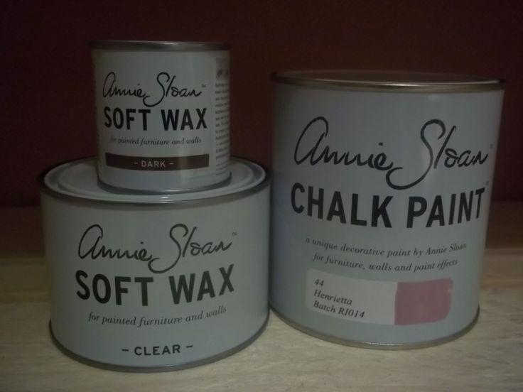 Annie Sloan pakket 1 Henrietta bestaat uit één liter Henrietta één Clear (Soft) Wax 500 ml en ''eén Dark wax van 120 ml.