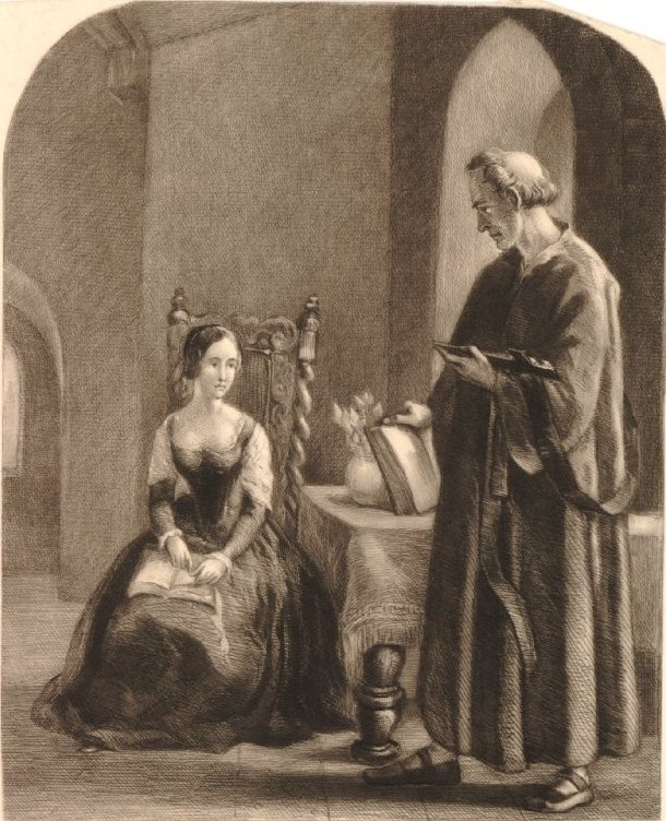 Anne Boleyn's last confession. Interestingly, shortly before her execution on charges of adultery, the Queen's marriage to the King was dissolved and declared invalid. One would wonder then how she could have committed adultery if she had in fact never been married to the King, but this was overlooked, as were so many other lapses of logic in the charges against Anne. She was executed on May 19, 1536 in a private execution.