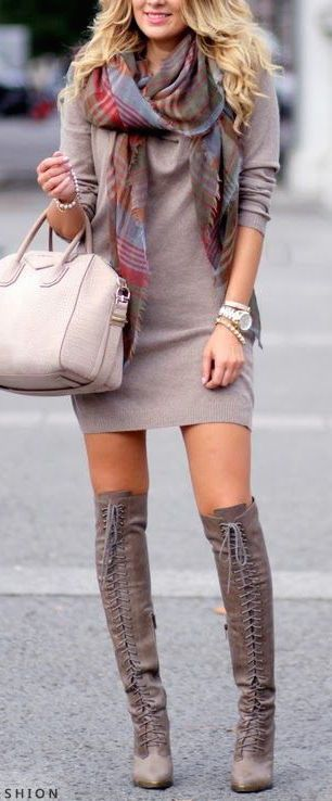 #winter #fashion / longsleeve dress + knee-length boots