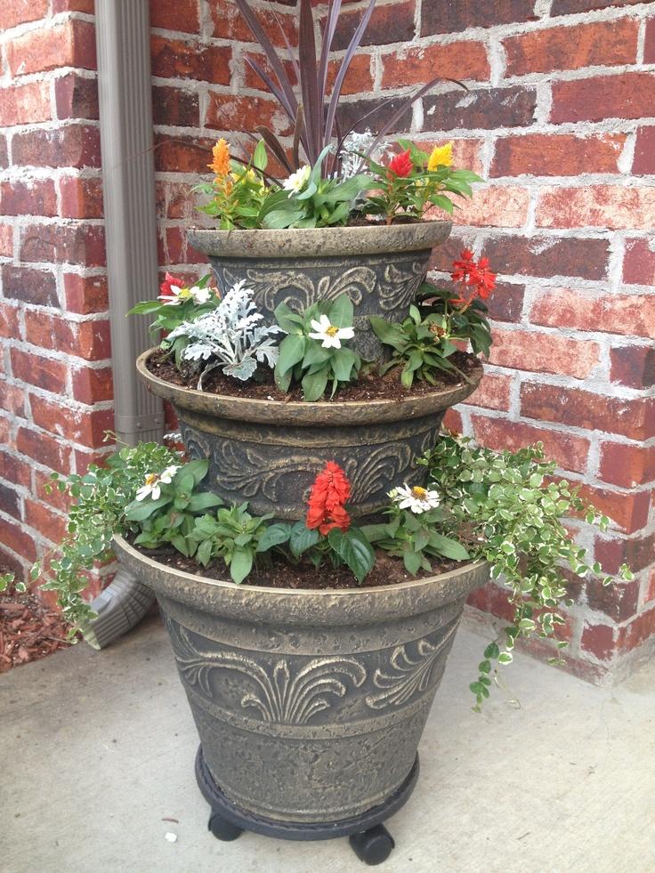 my new 3 tier planter i love it flower pots. Black Bedroom Furniture Sets. Home Design Ideas