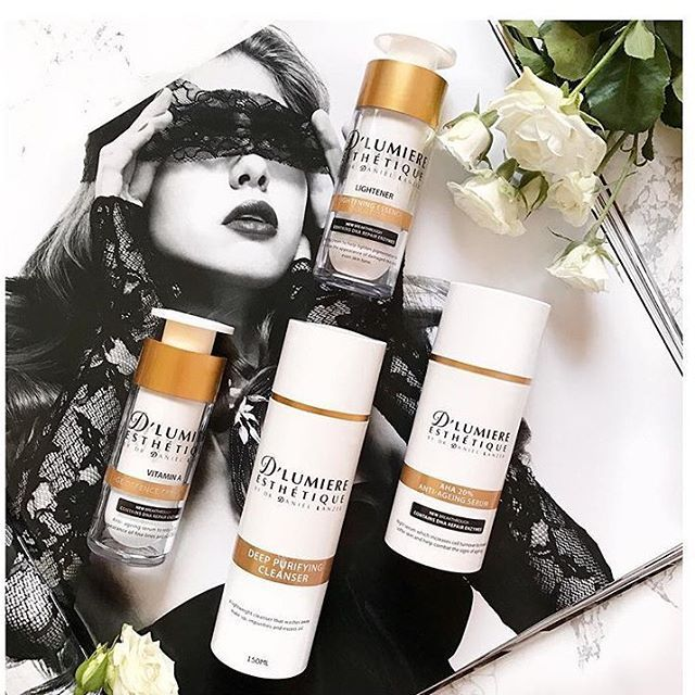 We love this image that @Ozproductjunkie posted of our D'Lumiere Esthetique products! Her selection features our Deep Purifying Cleanser, Vitamin A, Lightener and AHA cream - the perfect formular for great skin!  Shop all these products online now at D'Lumiere Esthetique #linkinbio