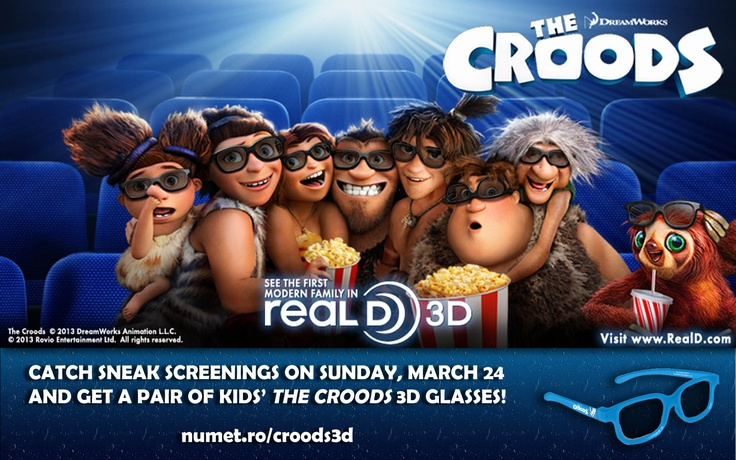 Catch special pre-release screenings of 'The Croods' on Sunday, March 24, 2013 and get a free pair of kids'-sized 3D glasses! http://numet.ro/croods3d