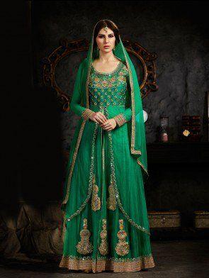 Green Art Sillk Anarkali Suit with Resham Embroidery Work
