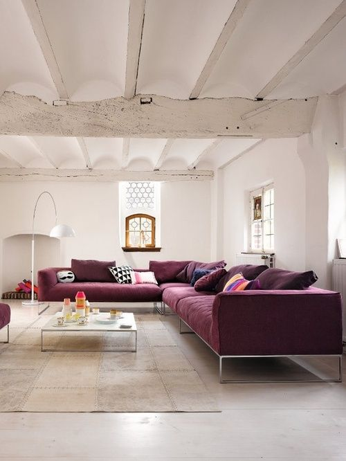 White + Purple (via Leeverlasting: Living Room Interior Design... Purple  CouchMaroon ...