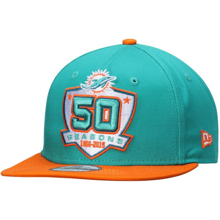 Men's New Era Aqua Miami Dolphins 50th Anniversary 9FIFTY Adjustable Hat