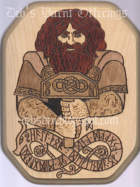 Thor Thorr Wood Plaque Pyrography Norse by debsburntofferings, $35.00