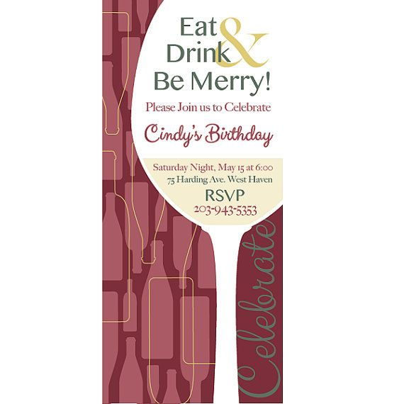 Personalized Printed Wine Birthday Invitations. Wine by POCParties