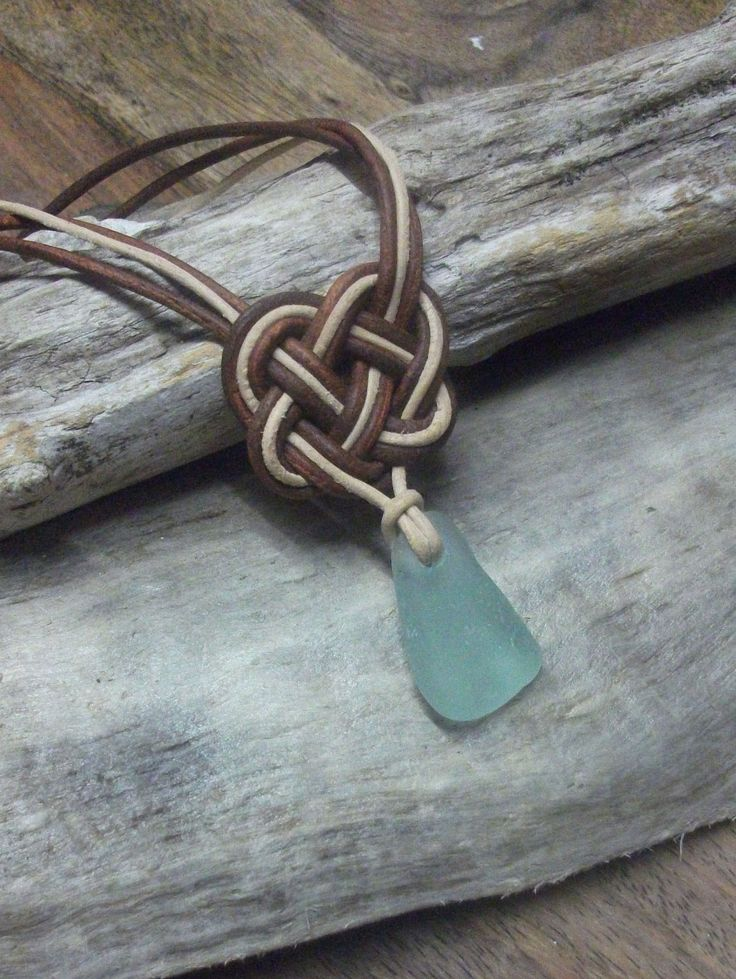 Scottish SeaGlass and Leather Celtic Knot Necklace - Seaglass